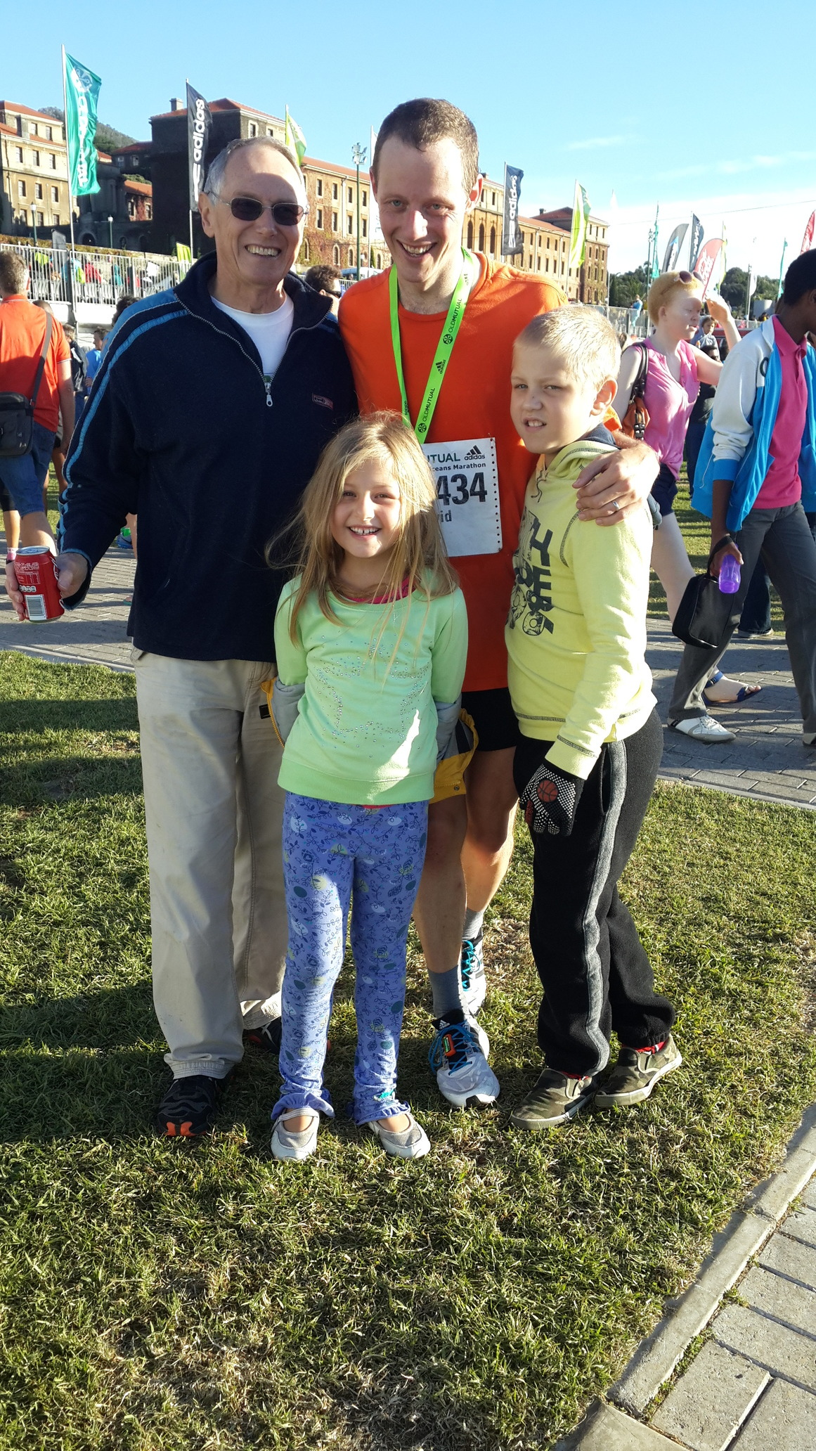 My dad and kids meeting me after the Two Oceans, April 2014